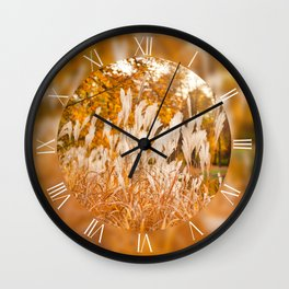 Clumps of Miscanthus ornamental grass Wall Clock
