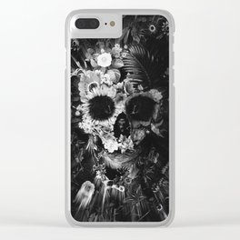 Garden Skull Dark B&W Clear iPhone Case