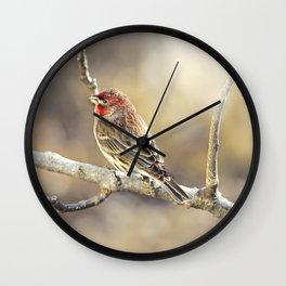 Rosy Little Finch Wall Clock