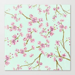 Spring Flowers - Mint and Pink Cherry Blossom Pattern Canvas Print