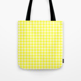 Cream Yellow and Electric Yellow Diamonds Tote Bag