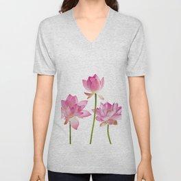 Lotos Waterlilies Flowes pink Unisex V-Neck