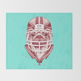 American Pug Football Red Throw Blanket