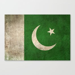 Old and Worn Distressed Vintage Flag of Pakistan Canvas Print