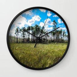 Cypress Trees and Blue Skies Wall Clock