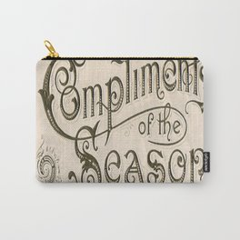 Season's Greetings Shabby Chic French Country Modern Vintage Christmas Typography Carry-All Pouch