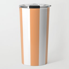 Very light tangelo - solid color - white vertical lines pattern Travel Mug