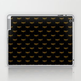 Golden Dragonfly Repeat Gold Metallic Foil on Black Laptop & iPad Skin
