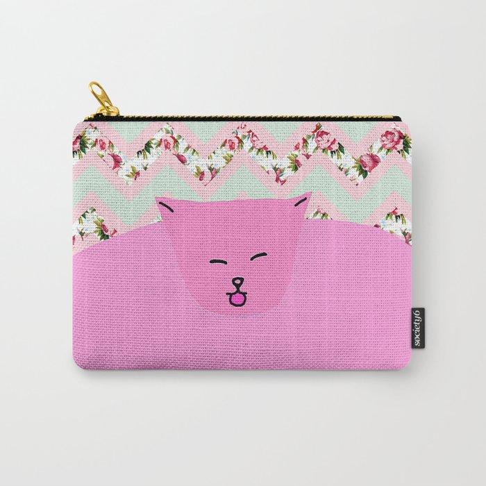 Chevron Pattern Pastel Floral Cat Art Carry-All Pouch