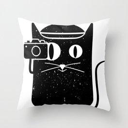 Cat & Camera Throw Pillow