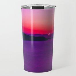 purple sunset in Fira Santorini Travel Mug