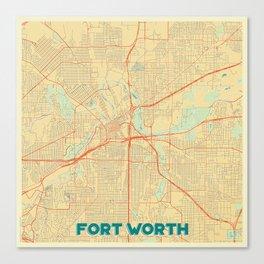 Fort Worth Map Retro Canvas Print
