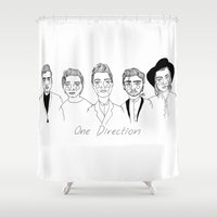 cactei Shower Curtains featuring One Direction by ☿ cactei ☿