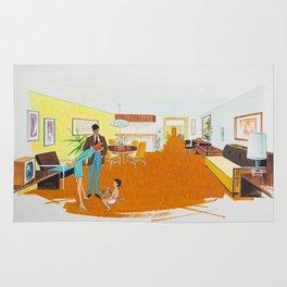 1950's Motel Room Artwork from Wildwood, NJ. Retro Motel Illustration Rug