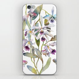 Cattleya Orchid White and Purple with Goldfish Muted Pallet Botanical Design iPhone Skin