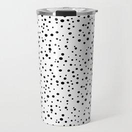 PolkaDots-Black on White Travel Mug