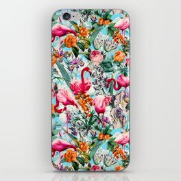 Floral and Flamingo VII pattern iPhone Skin