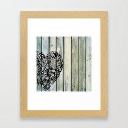 Barnwood and Filligree Heart 1 Framed Art Print