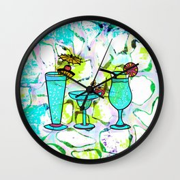 Summer Pool Party Cocktails , Watercolor Painting in Aqua Tequila Sunrise Colors Wall Clock