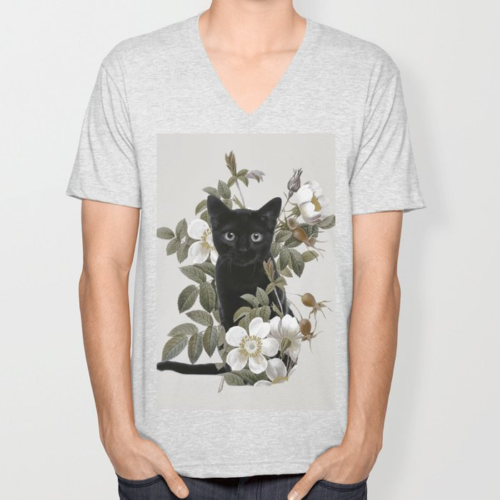 Cat With Flowers Unisex V-Neck