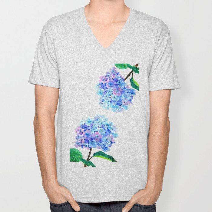blue purple hydrangea Unisex V-Neck