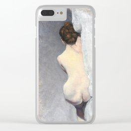 Soft Pastel Nude Female Oil painting of Woman Sleeping Clear iPhone Case