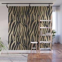 Modern elegant black faux gold trendy zebra animal print Wall Mural