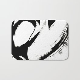 Brushstroke 6: a minimal, abstract, black and white piece Bath Mat