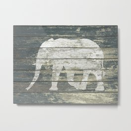 White Elephant Silhouette on Teal Wood A215C Metal Print