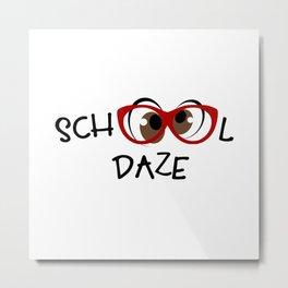 School Daze Red Glasses Brown Eyes Metal Print
