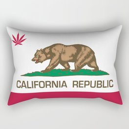 California Republic state flag with red Cannabis leaf Rectangular Pillow