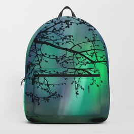 Tree Branch and Aurora Borealis Night Sky Backpack