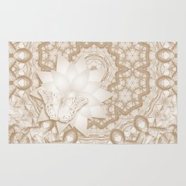 Butterfly on mandala in iced coffee tones Rug