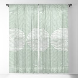 Minimal Tropical Leaves Pastel Green Sheer Curtain