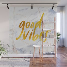Good Vibes - Golden Lettering on Luxury Marble Wall Mural