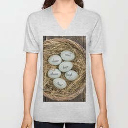 Eggs with messages Unisex V-Neck