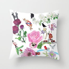 London in Bloom - Flowers and transportation that make London Throw Pillow