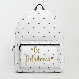 Be Fabulous Gold Polka Dots Backpack
