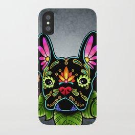 French Bulldog in Black - Day of the Dead Bulldog Sugar Skull Dog iPhone Case