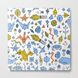 Marine animals and plants, Stylized origami Metal Print