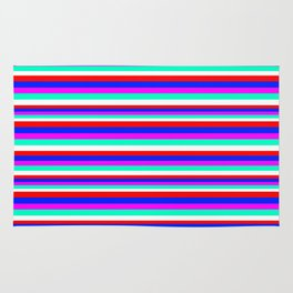 Colored Stripes - Fire Red Royal Blue Pink Mint White Rug