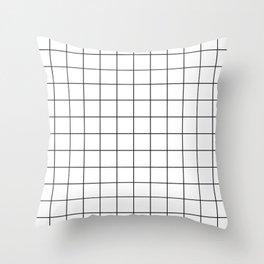 Grid Simple Line White Minimalistic Throw Pillow