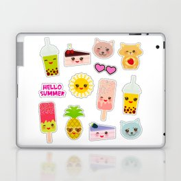 Hello Summer. Pineapple, cherry smoothie cup, ice cream, sun, cat, cake, hamster. Kawaii cute face. Laptop & iPad Skin