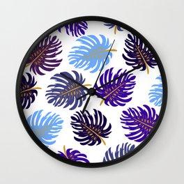 Modern Tropics in Gold Wall Clock