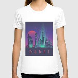 Dubai City Skyline Retro Art Deco Tourism - Night T-shirt