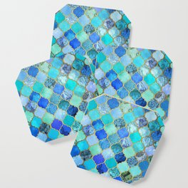 Cobalt Blue, Aqua & Gold Decorative Moroccan Tile Pattern Coaster