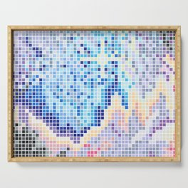 Pixelated Nebula Blue Serving Tray