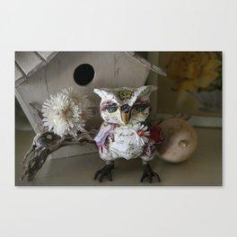 Saffron the Handmade Paper Mache Owl Canvas Print