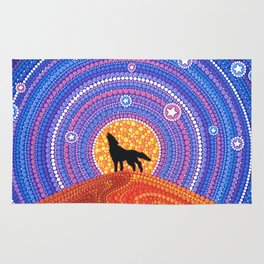 Night of the Wandering Wolf Rug