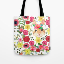 Easter rabbit with spring flowers, watercolor Tote Bag